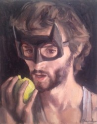 Dani Batman eating an apple