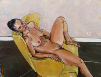 Nude in yellow chair