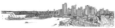 Sydney from Sydney Harbour Bridge pylons (panorama)