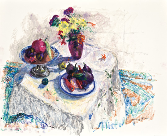 Still life with ruby glass vase