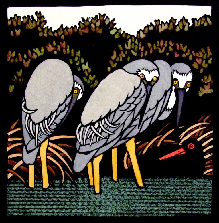 Sheltering Herons
