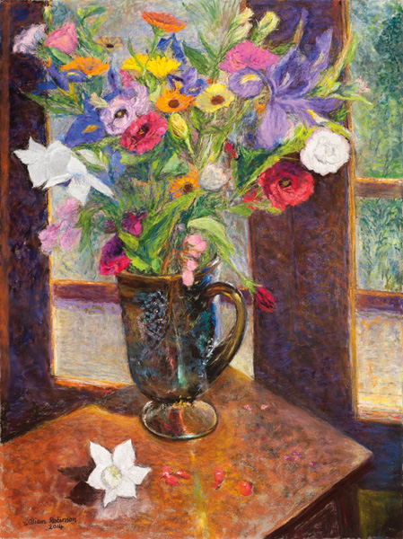 Spring bouquet in Carnival glass jug