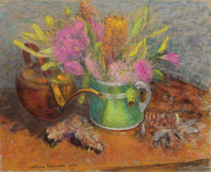 Native flowers and watering can