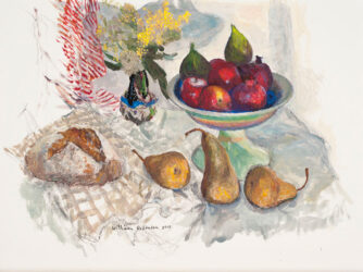 Wattle, banksia, fruit and bread