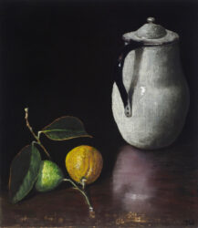 White jug with lemons