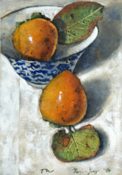 Two persimmons with bowl