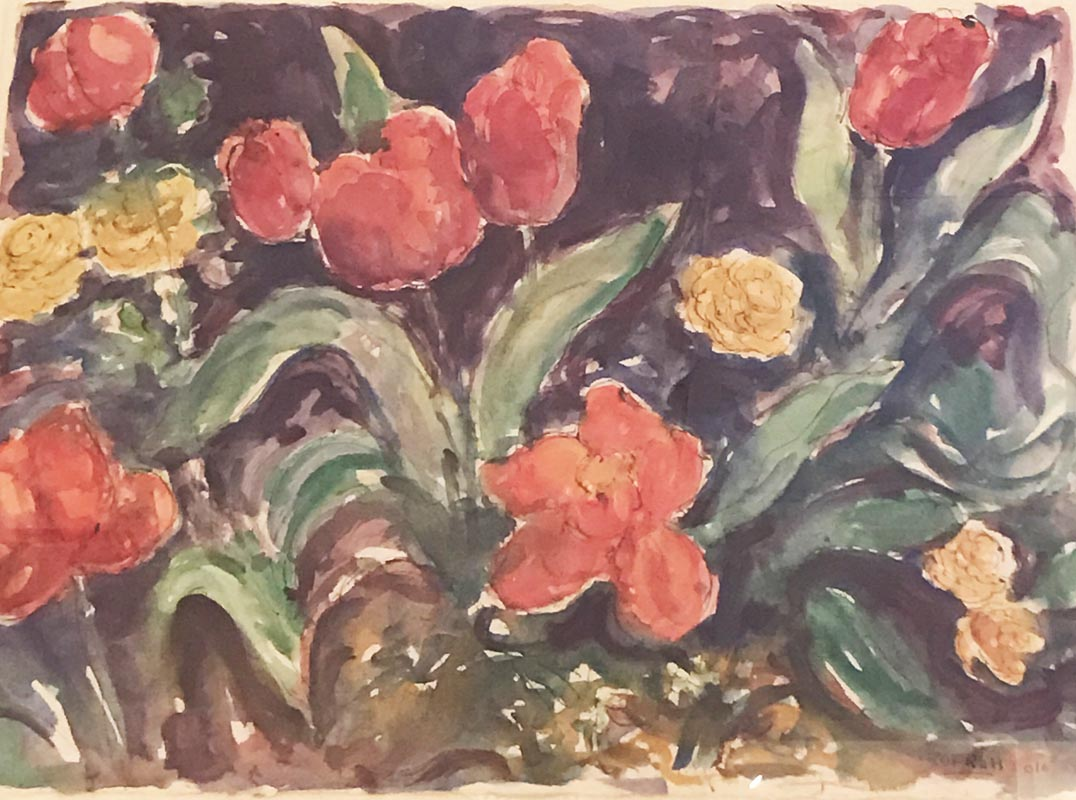 Plum tulips with yellow flowers