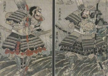 UTAGAWA TOYOKUNI I (1769 – 1825) Warriors from an episode of the 14C book, Heike  Monogatari (Tales of the Heike), an account of the  Genpei War between the Taira and Minamoto clans   c.