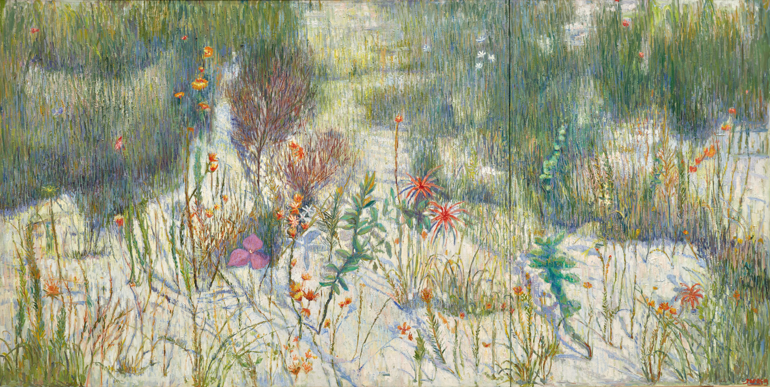 Salvatore Zofrea     Days of spring - irises & grevillea     oil and lapis lazuli on linen     153 x 300 cm     © the artist