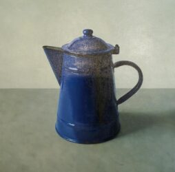 Blue enamel coffee pot