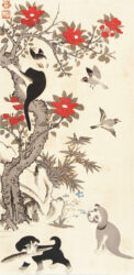 ITO JAKUCHU (1715 – 1800) – Two puppies at the base of a red flowering tree  c.