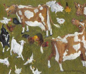 Green pasture, Guernseys & goats