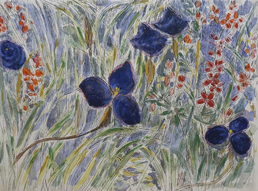 Native irises and wax flowers