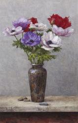 Anemones in silver vase