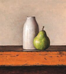 Green pear with white vase