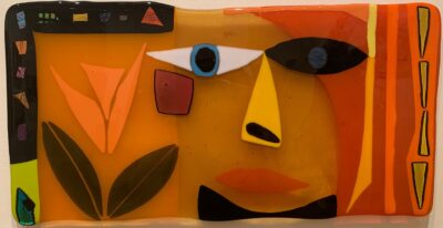 Orange face with leaves – Deborah Halpern
