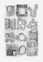 Installation image of twelve Glenna Collier sculptures