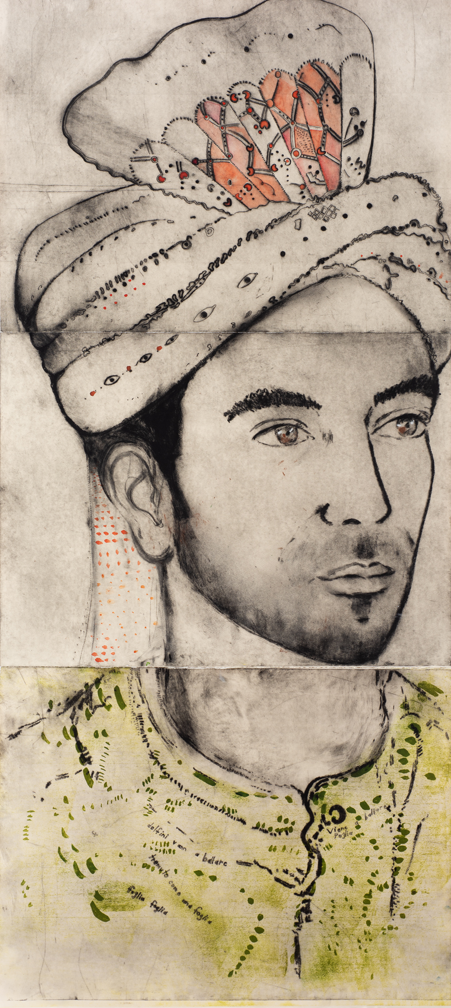 Barbie Kjar_Portrait of Vimal dalla Puglia_2018_Drypoint,Wood lithograph and watercolour_jpg