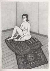 Nude seated on two cushions and patterned rug
