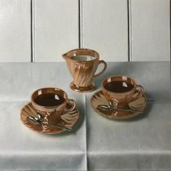 American Fifties Fire King peach lustre tea set
