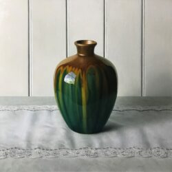 Old green glazed vase on Jean's runner