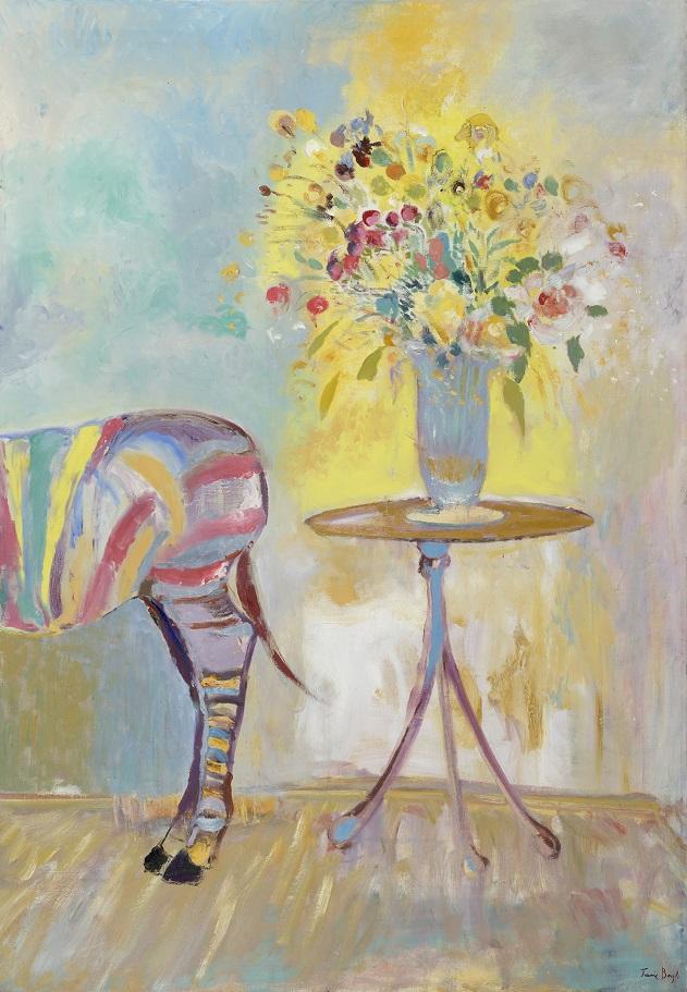 Zebra with vase of flowers