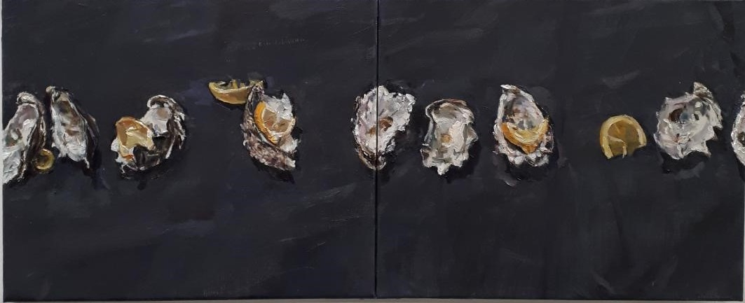 Oyster shells with lemons