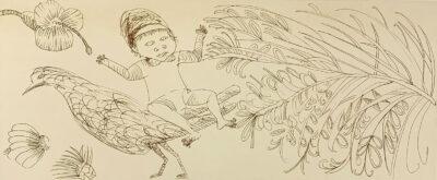 Boy, bird & bottlebrush (sepia)