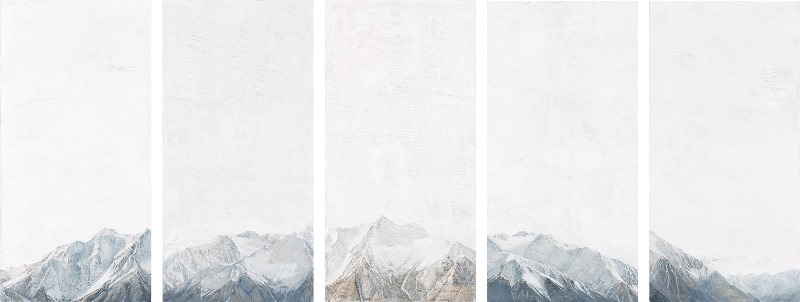 Snowline 2013 oil and graphite on fresco plaster 100 x 250 cm