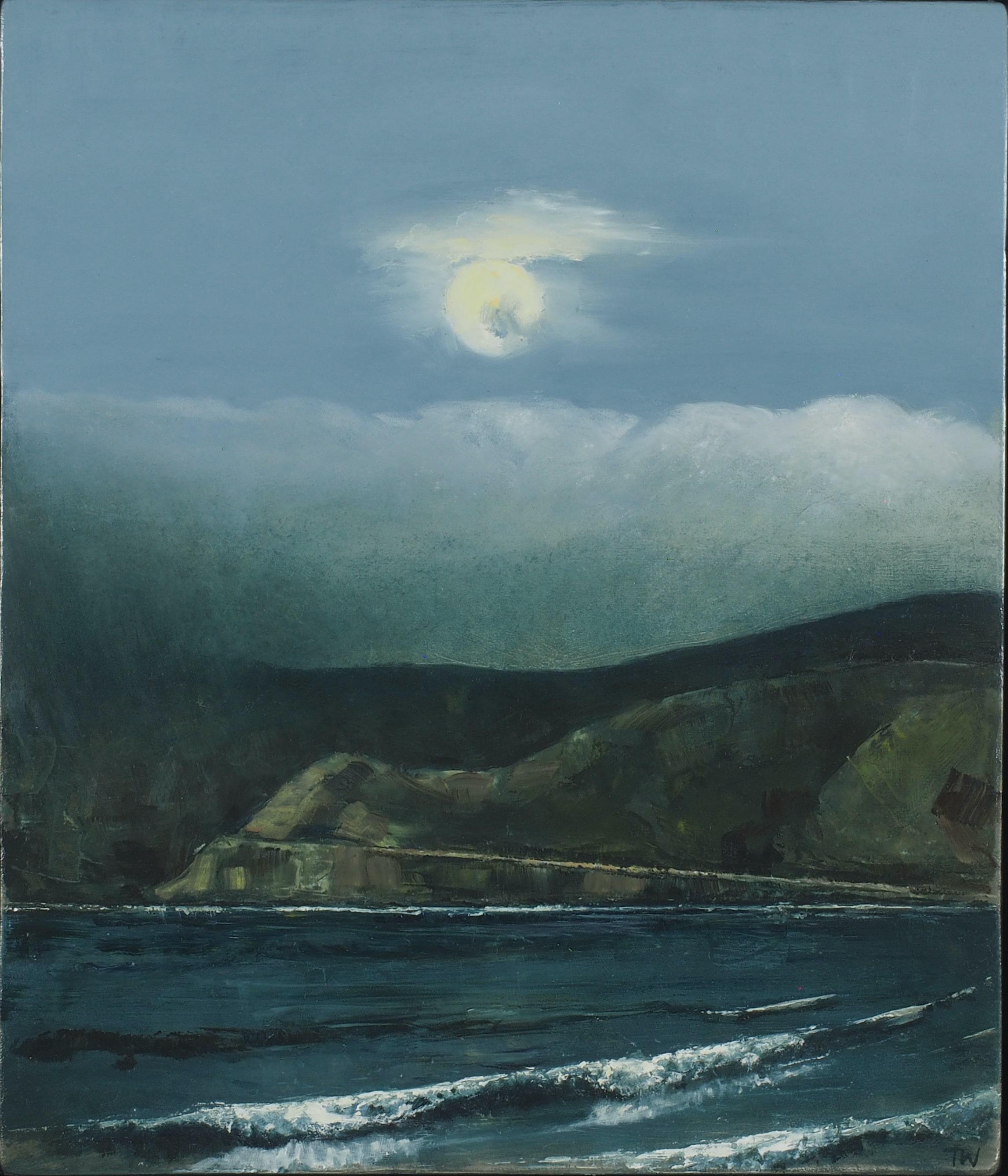 'Full moon over the great ocean road', '20, oil on panel, 47x40cm-min