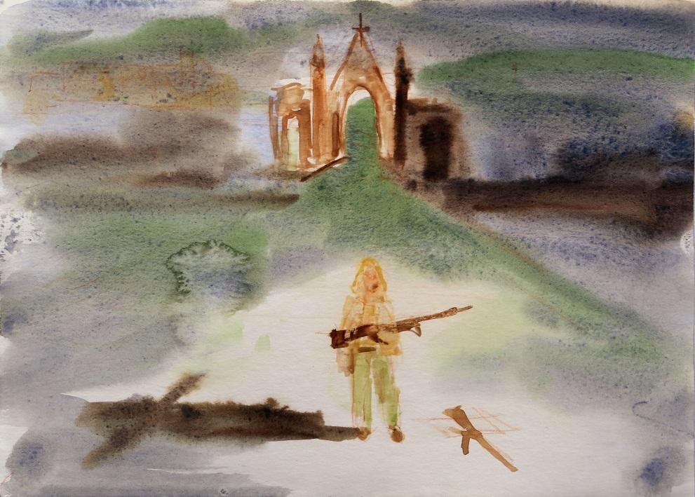 Church with gunman, Port Arthur