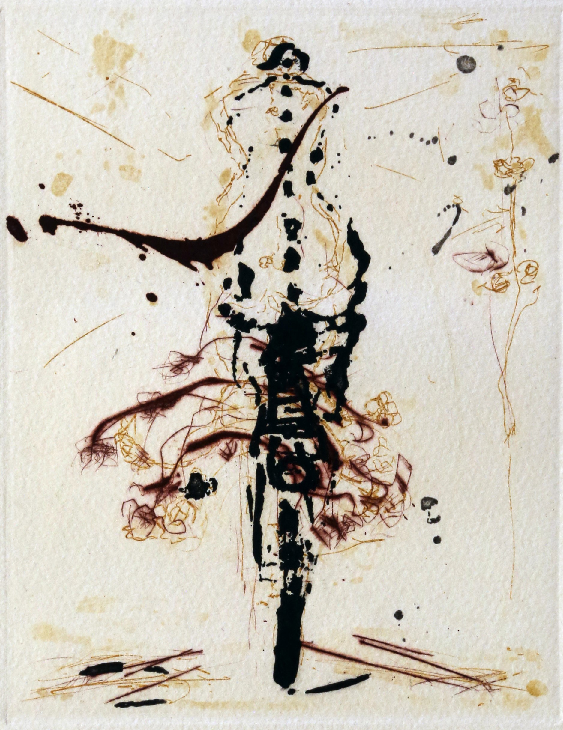 Bicycle with flowers colour plate etching AP 19 x 15 cm 1999