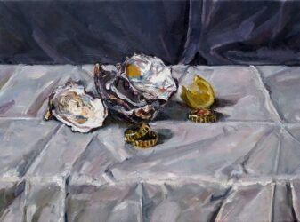 Still life with oyster shells, bottle tops and lemon