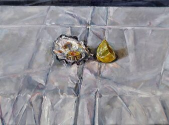 Still life with oyster shell, bottle cap and lemon wedge