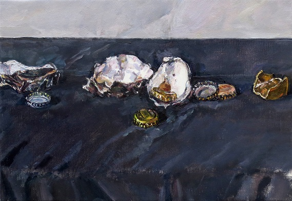 Oyster shells and bottle caps