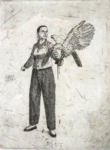 Woman holding a Goshawk