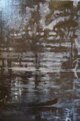 Painting, canoe, night