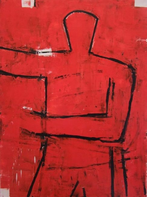 Figure on red