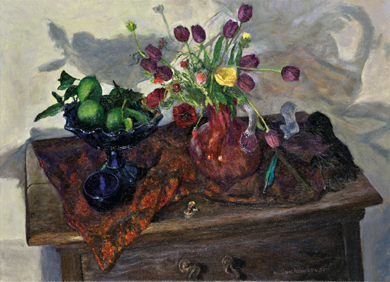 Still life with tulips, ranunculus and limes