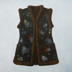 Fur lined Chinese silk vest