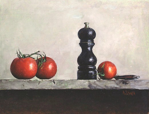Tomatoes with peppermill