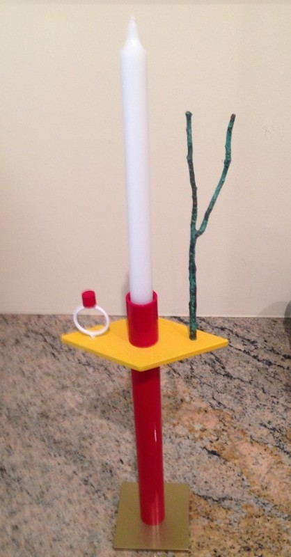 Candle stick with ring and tree