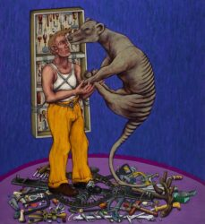 Gravure man and thylacine