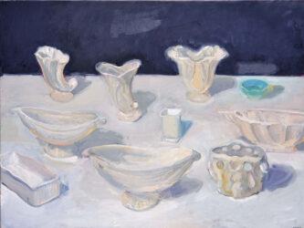 Green bowl and white vase