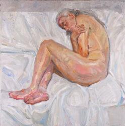 Nude on white sheet