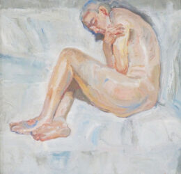 Study for, Nude on white sheet