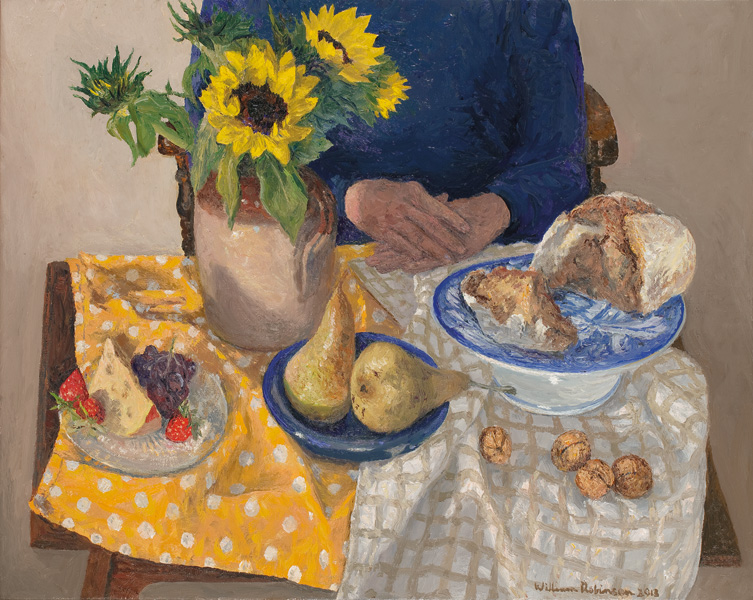 Figure with fruit and bread