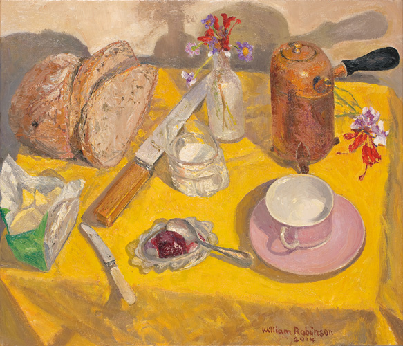 Coffee with bread and jam