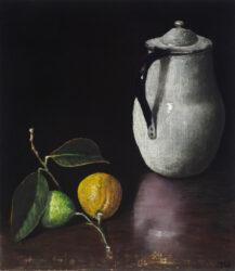 White jug with lemons