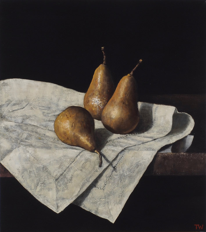 Three pears and cloth